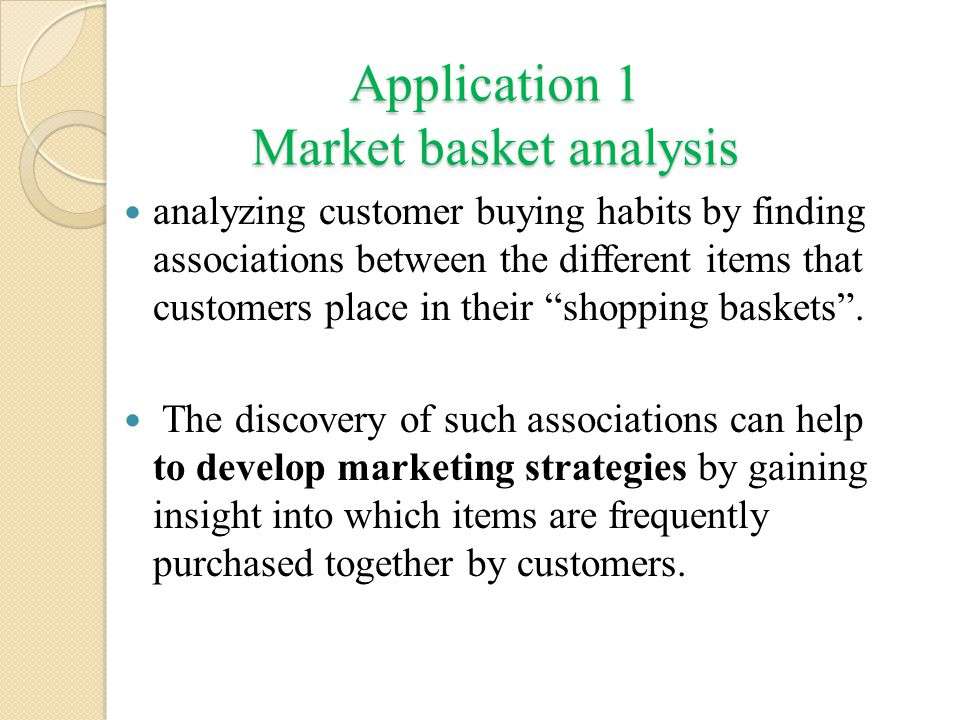 Application 1 Market basket analysis