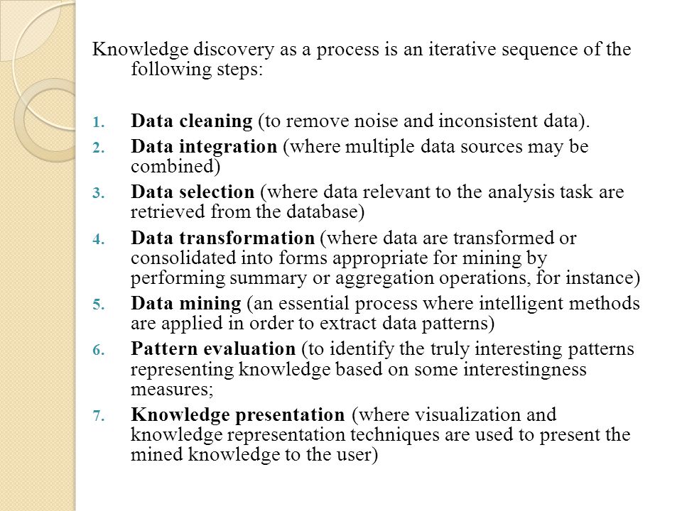 Knowledge discovery as a process is an iterative sequence of the following steps: