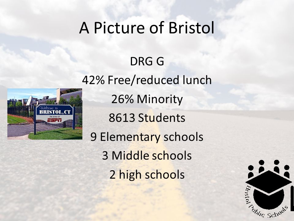 A Picture of Bristol DRG G 42% Free/reduced lunch 26% Minority 8613 Students 9 Elementary schools 3 Middle schools 2 high schools