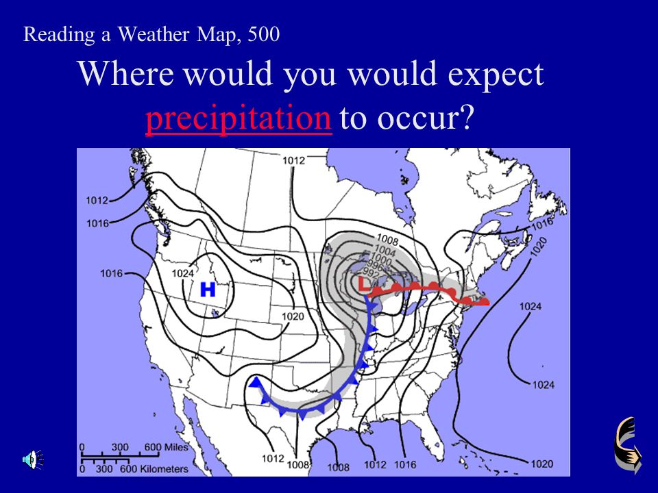 Where would you would expect precipitation to occur