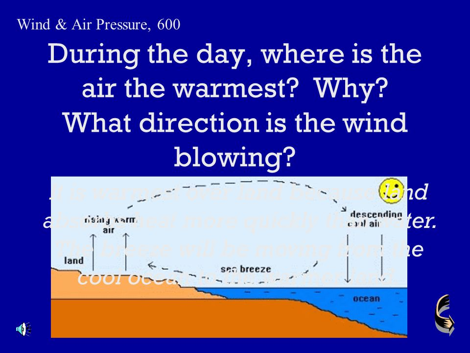 Wind & Air Pressure, 600 During the day, where is the air the warmest Why What direction is the wind blowing
