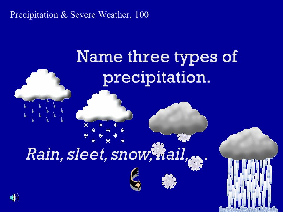 Name three types of precipitation.
