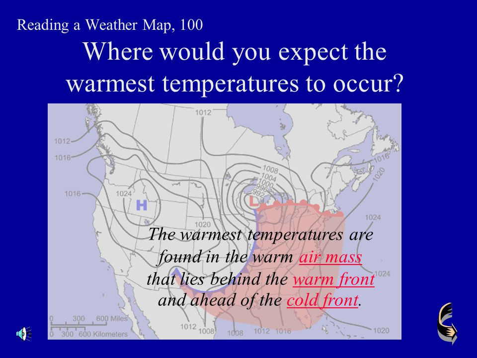 Where would you expect the warmest temperatures to occur