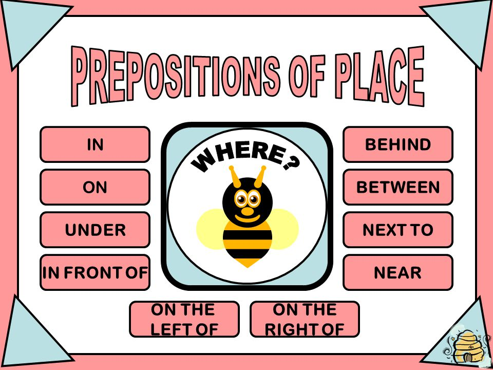 PREPOSITIONS OF PLACE WHERE IN BEHIND ON BETWEEN UNDER NEXT TO