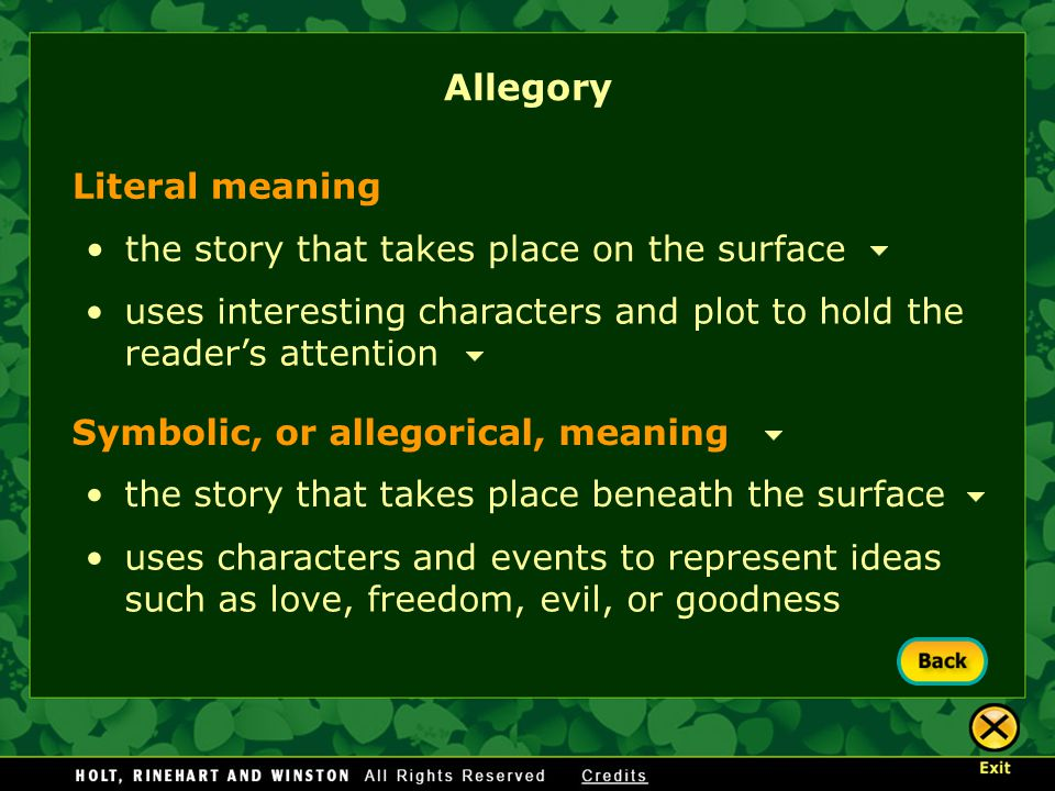 Allegory Literal meaning the story that takes place on the surface