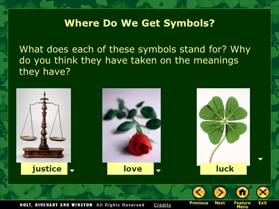 Where Do We Get Symbols What does each of these symbols stand for Why do you think they have taken on the meanings they have