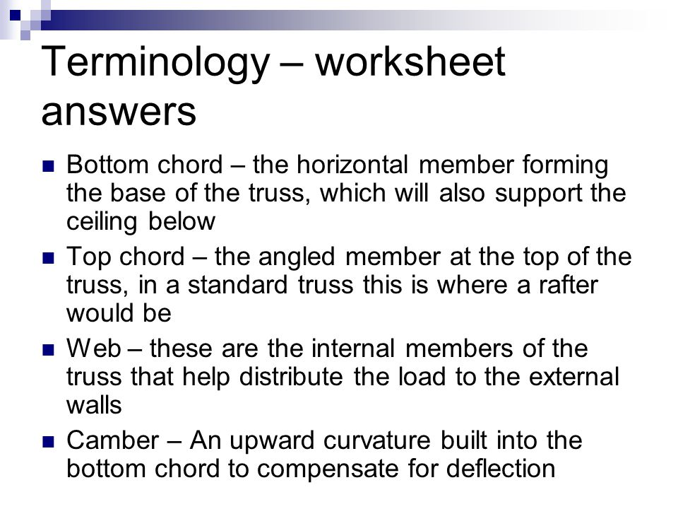 Terminology – worksheet answers
