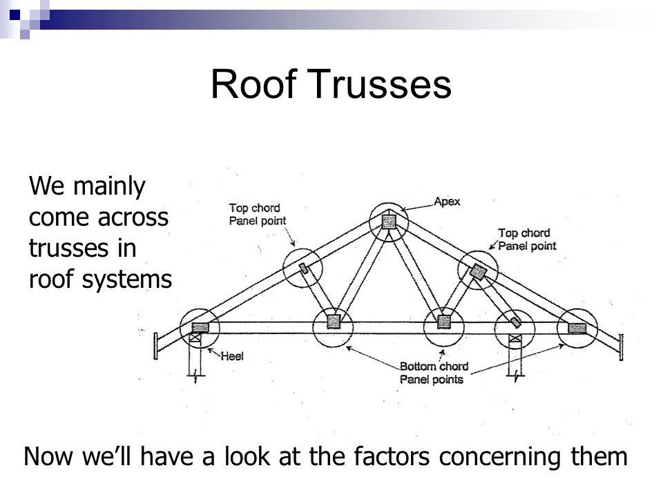 Roof Trusses We mainly come across trusses in roof systems