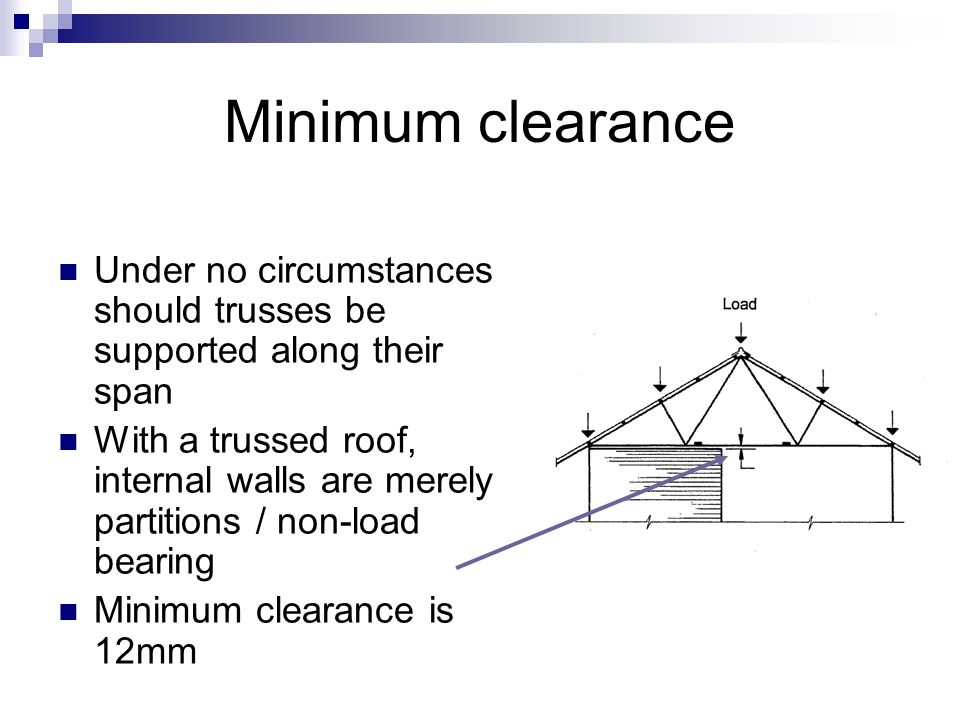 Minimum clearance Under no circumstances should trusses be supported along their span.