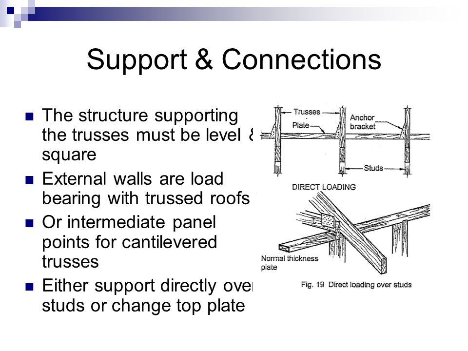 Support & Connections The structure supporting the trusses must be level & square. External walls are load bearing with trussed roofs.