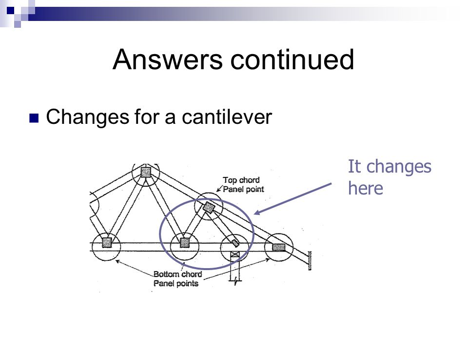 Answers continued Changes for a cantilever It changes here