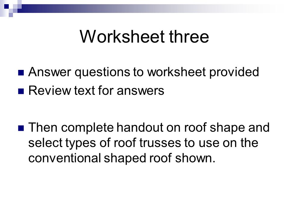 Worksheet three Answer questions to worksheet provided