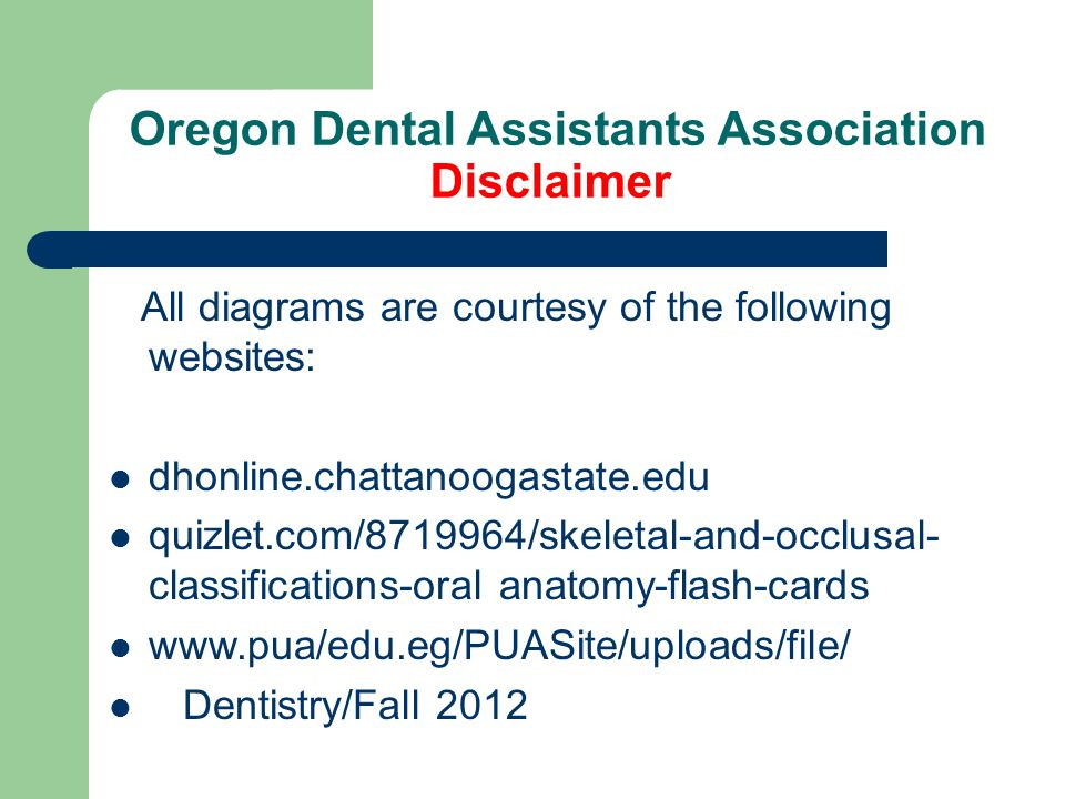 Oregon Dental Assistants Association Disclaimer