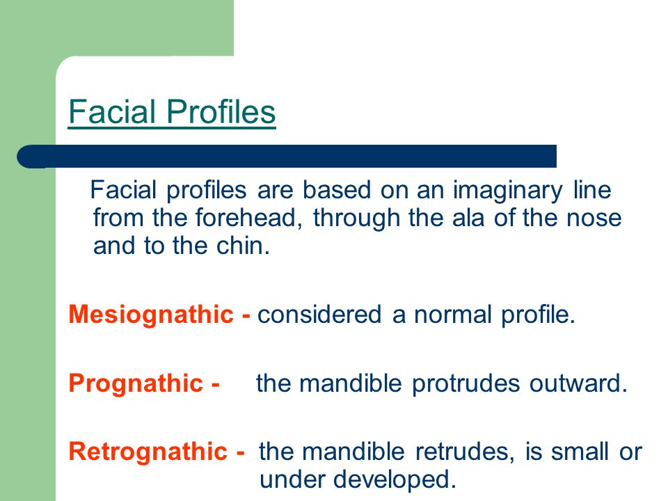 Facial Profiles Facial profiles are based on an imaginary line from the forehead, through the ala of the nose and to the chin.