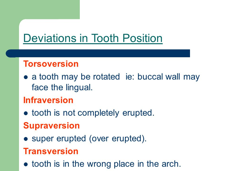 Deviations in Tooth Position