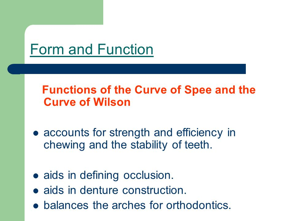 Form and Function Functions of the Curve of Spee and the Curve of Wilson.