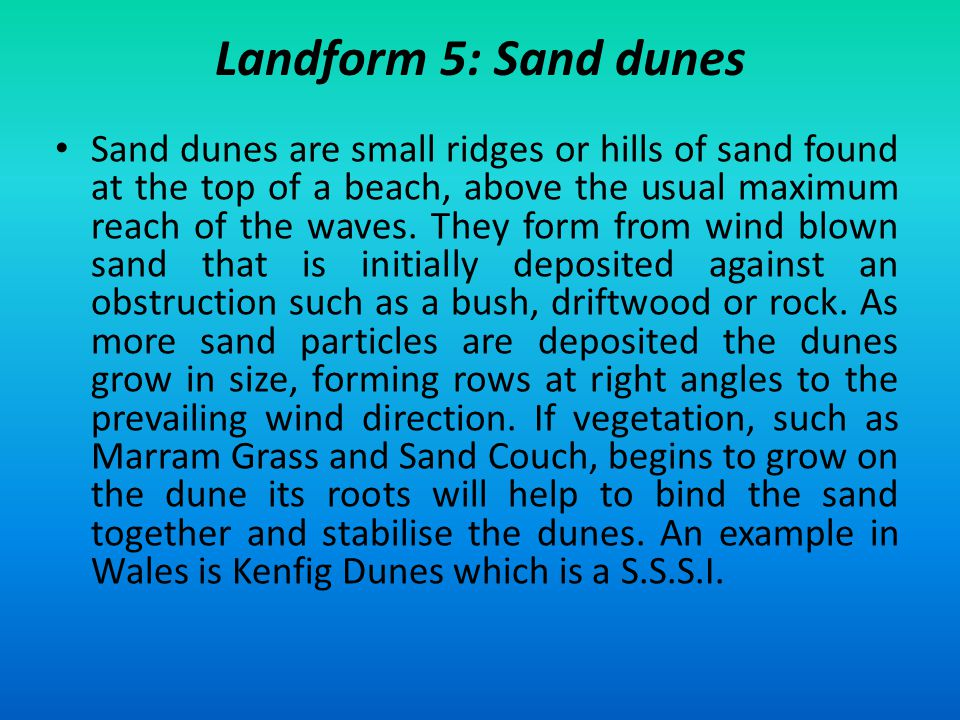 Landform 5: Sand dunes