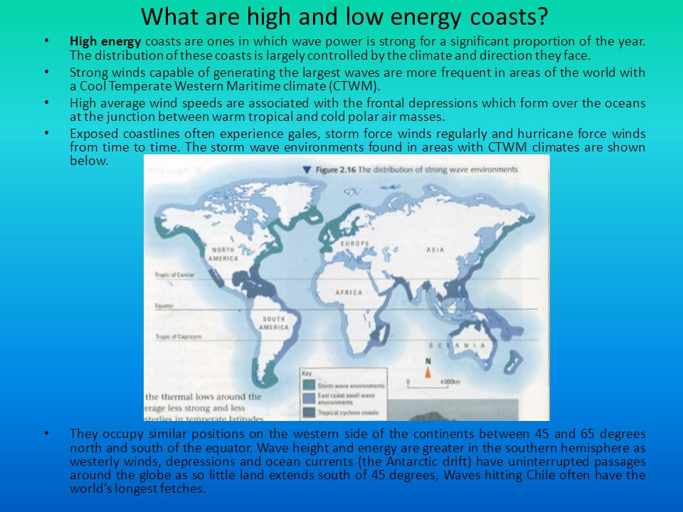 What are high and low energy coasts