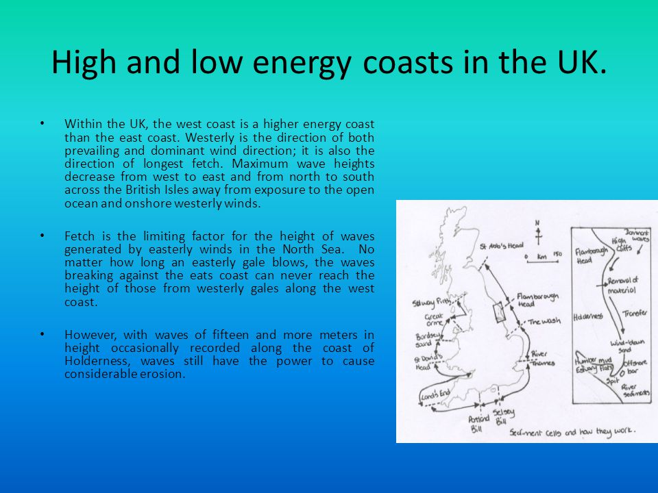 High and low energy coasts in the UK.