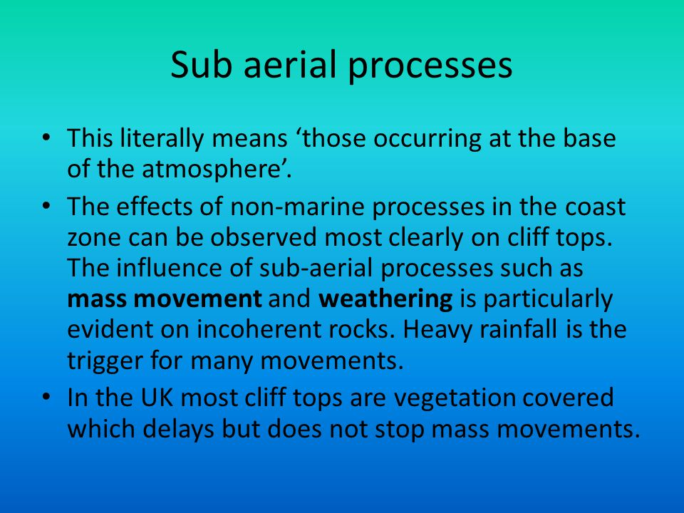 Sub aerial processes This literally means 'those occurring at the base of the atmosphere'.
