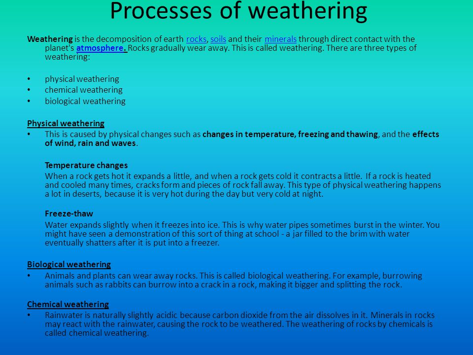 Processes of weathering