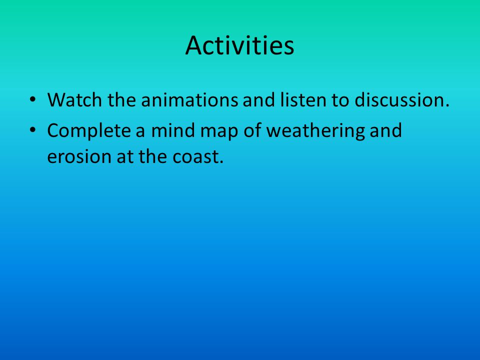 Activities Watch the animations and listen to discussion.
