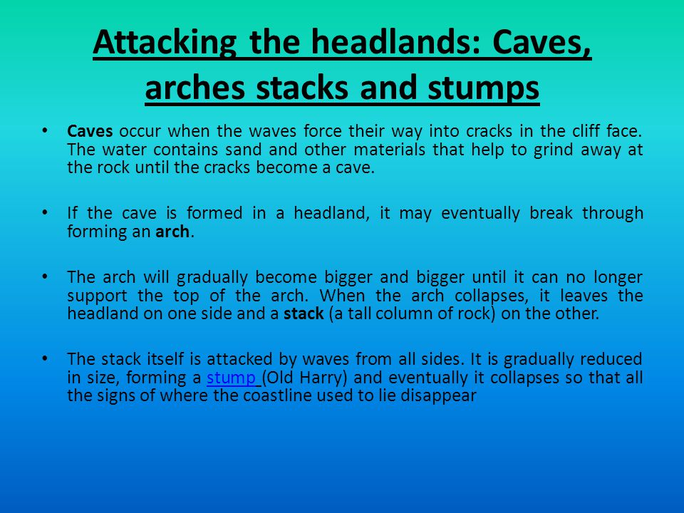 Attacking the headlands: Caves, arches stacks and stumps
