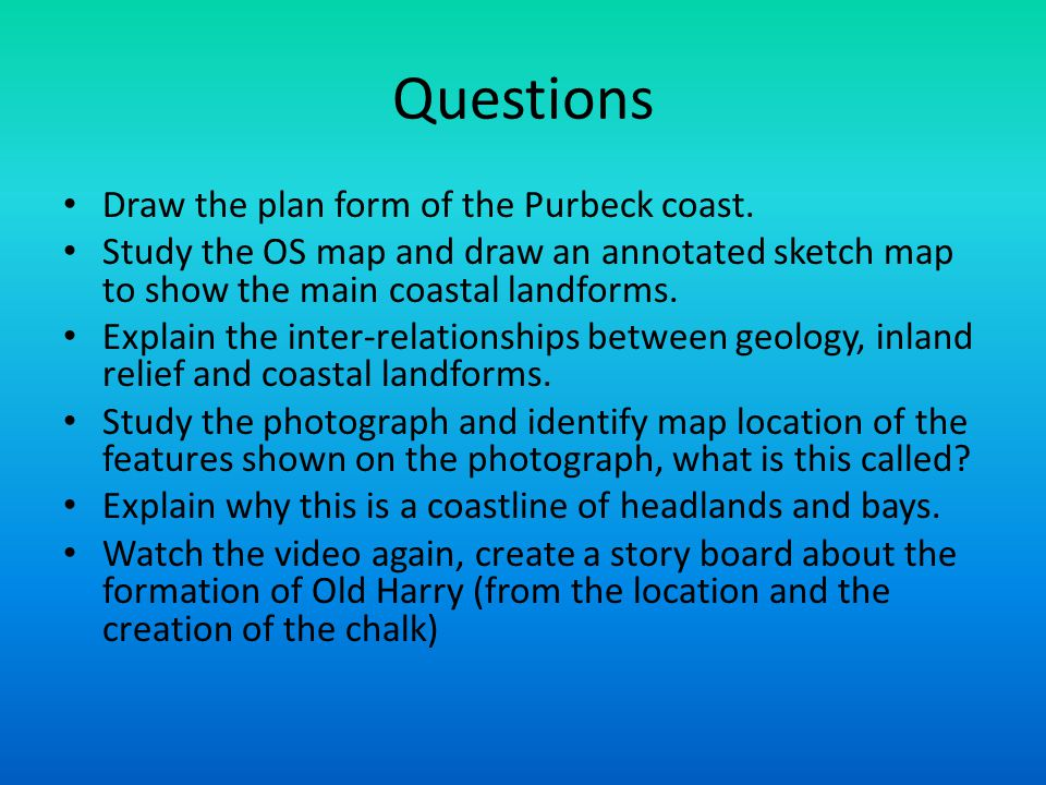 Questions Draw the plan form of the Purbeck coast.