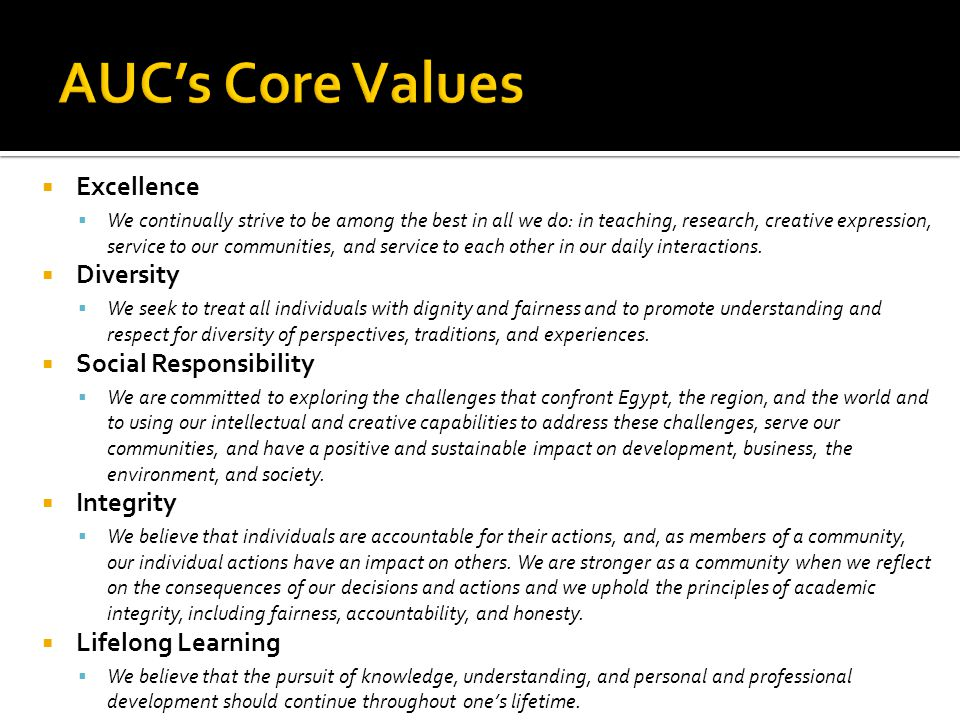 AUC's Core Values Excellence Diversity Social Responsibility Integrity
