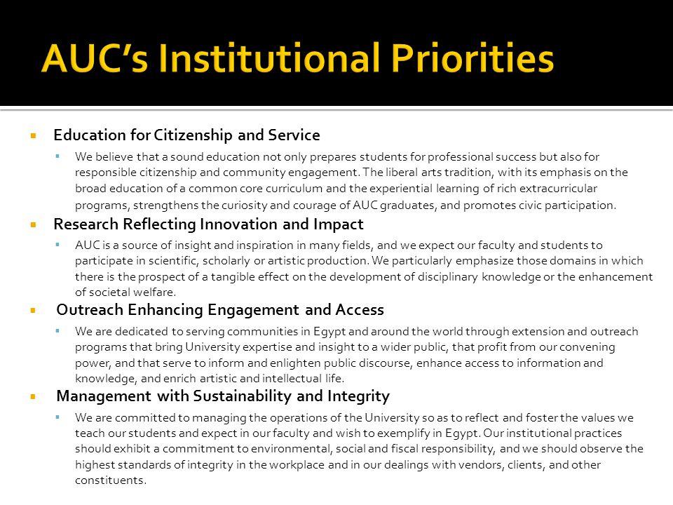 AUC's Institutional Priorities