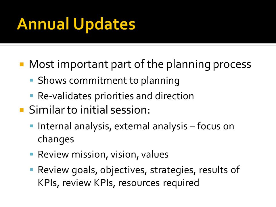 Annual Updates Most important part of the planning process