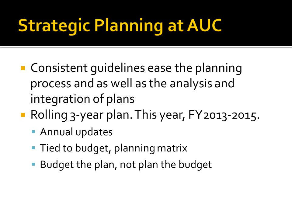 Strategic Planning at AUC