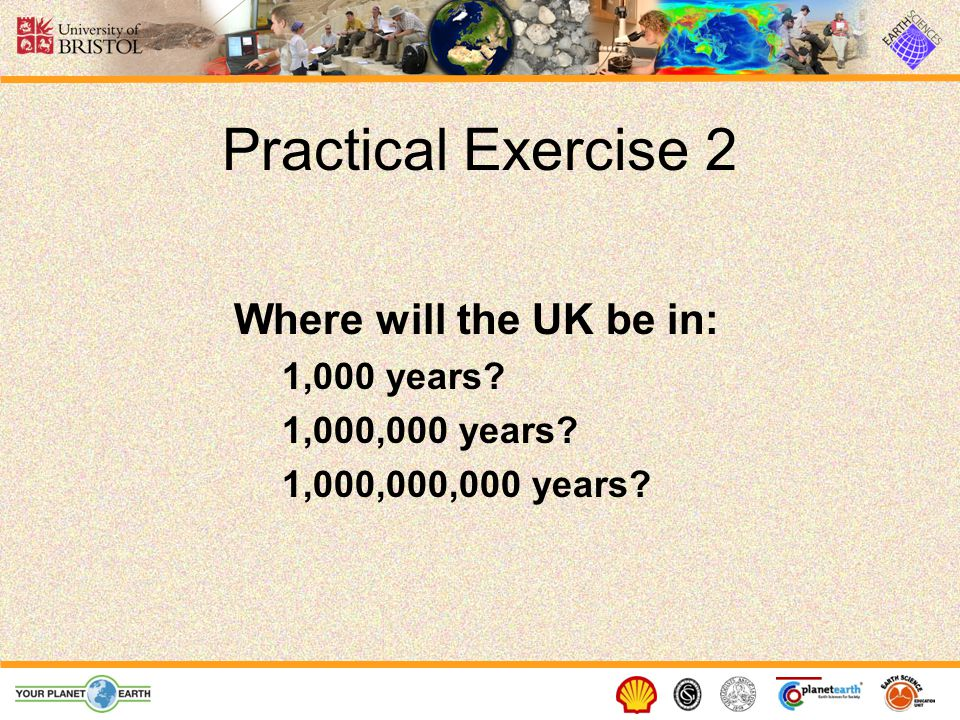 Practical Exercise 2 Where will the UK be in: 1,000 years