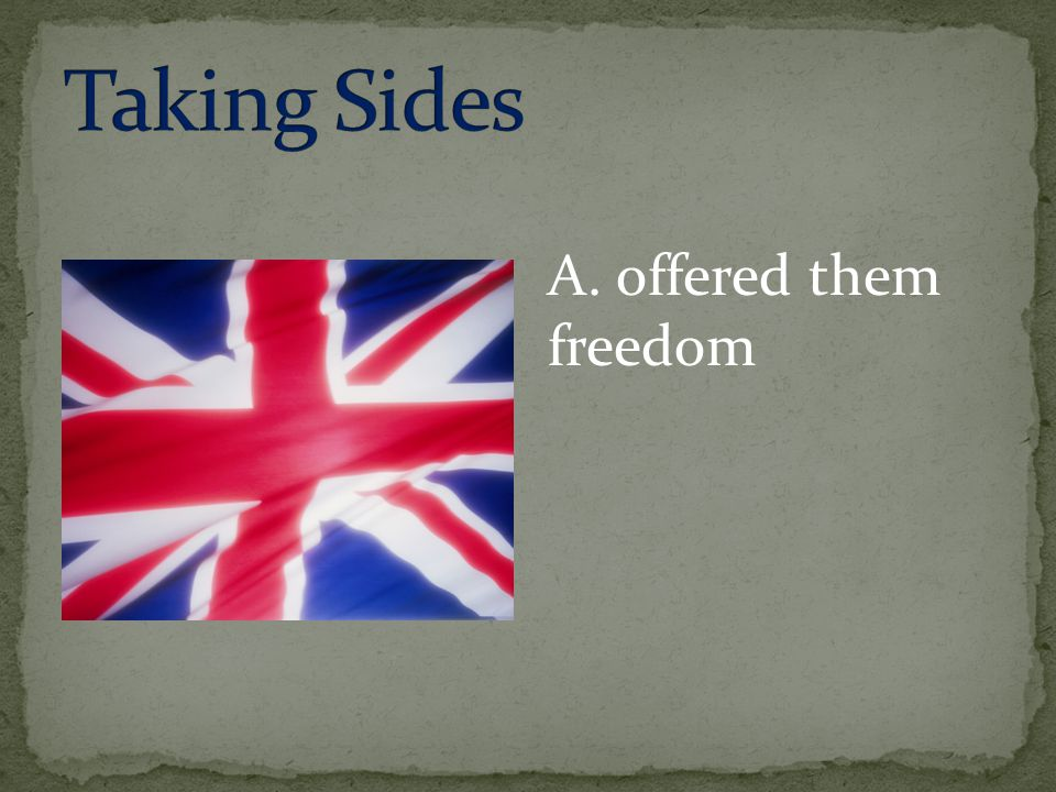 Taking Sides A. offered them freedom