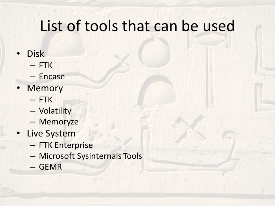 List of tools that can be used