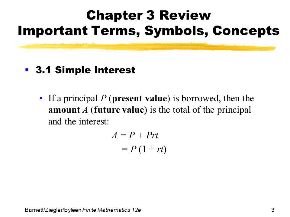 Chapter 3 Review Important Terms, Symbols, Concepts