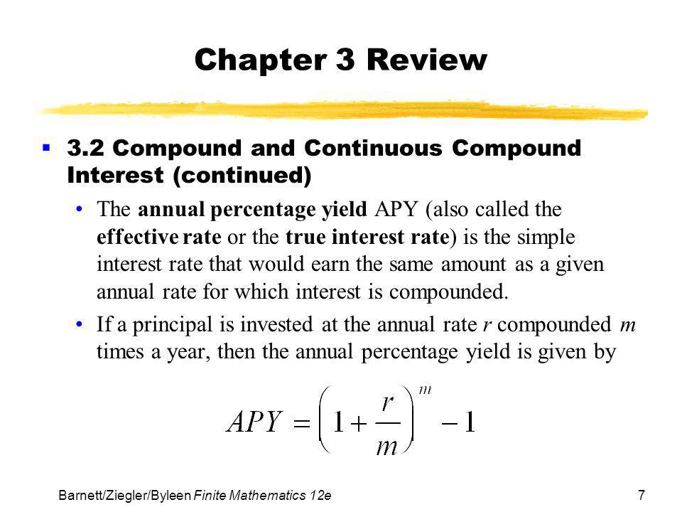 Chapter 3 Review 3.2 Compound and Continuous Compound Interest (continued)