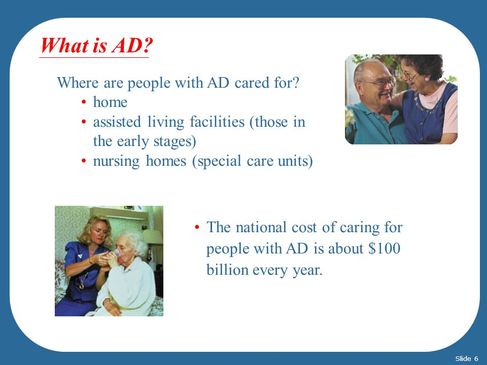 What is AD Where are people with AD cared for home