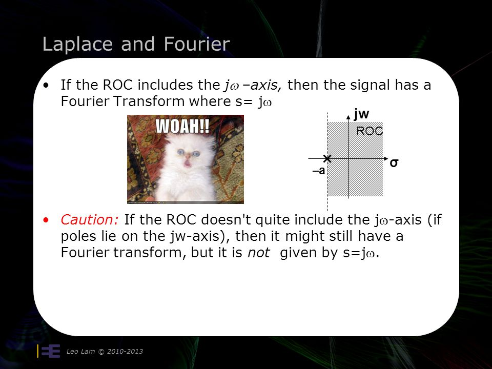 Laplace and Fourier If the ROC includes the jw –axis, then the signal has a Fourier Transform where s= jw.