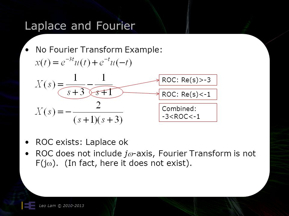 Laplace and Fourier No Fourier Transform Example:
