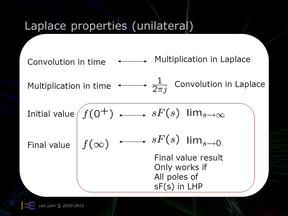 Laplace properties (unilateral)