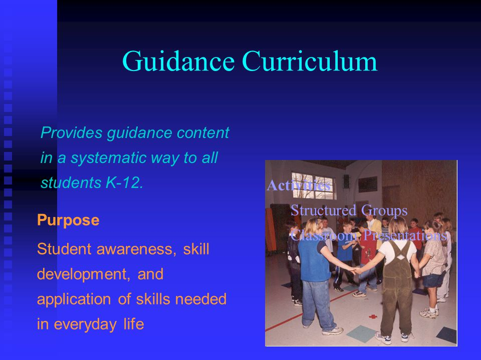 Guidance Curriculum Provides guidance content in a systematic way to all students K-12. Activities.