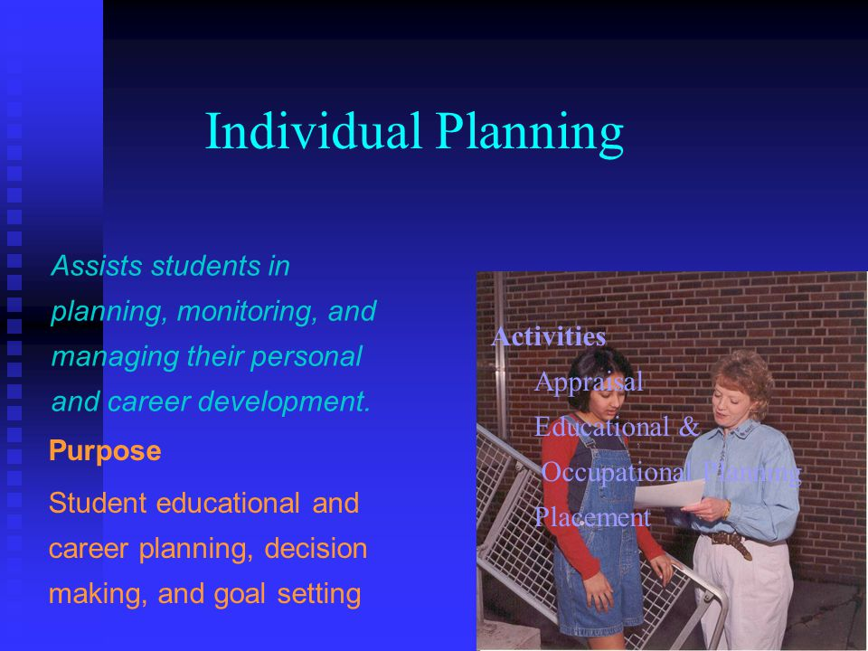 Individual Planning Assists students in planning, monitoring, and managing their personal and career development.