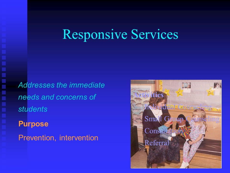 Responsive Services Addresses the immediate needs and concerns of students. Activities. Individual Counseling.