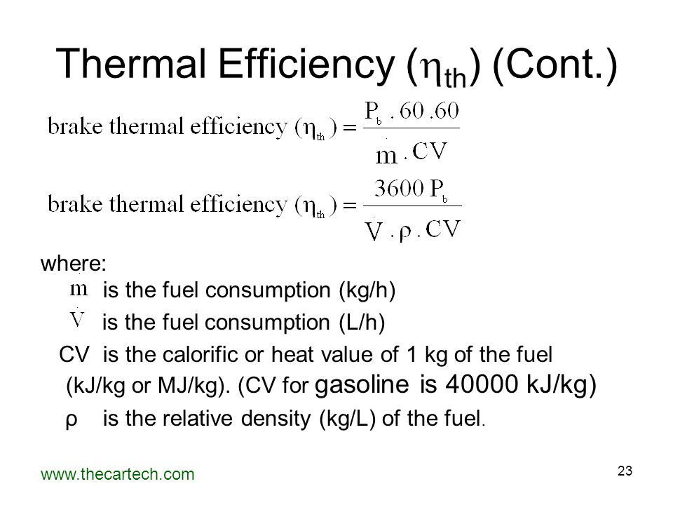 Thermal Efficiency (th) (Cont.)