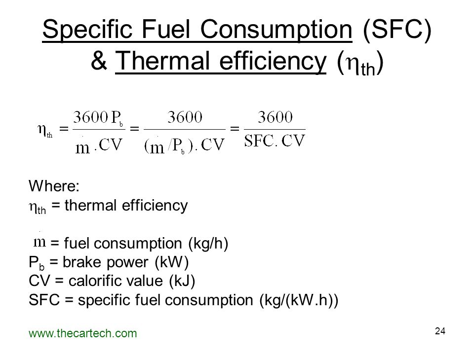 Specific Fuel Consumption (SFC) & Thermal efficiency (th)