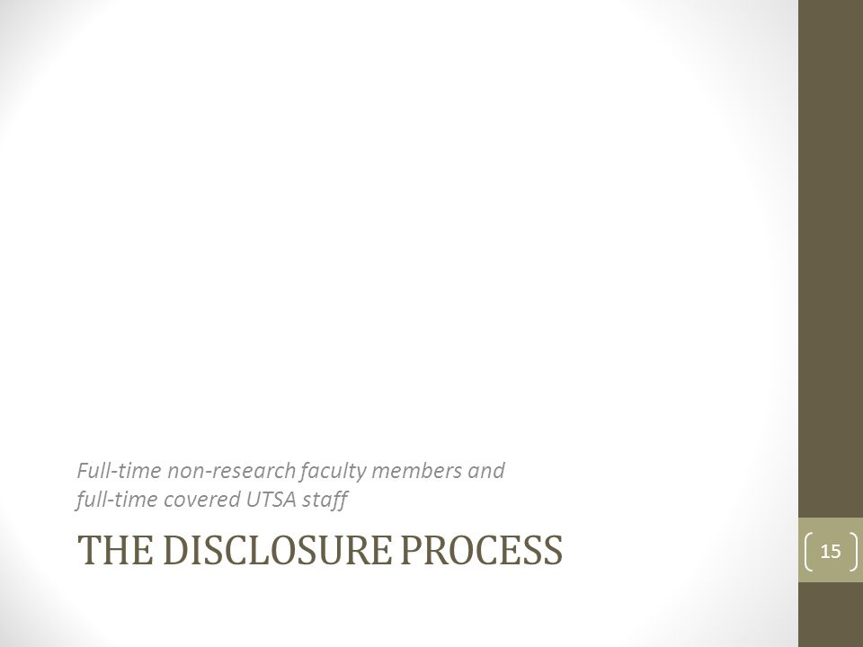 The Disclosure Process