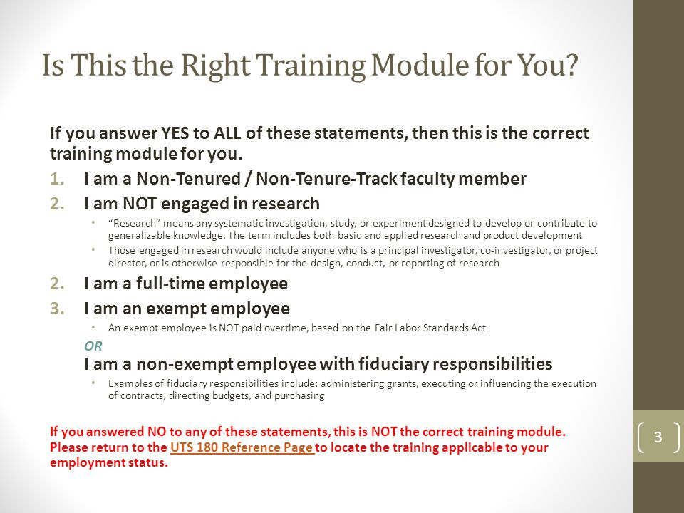 Is This the Right Training Module for You