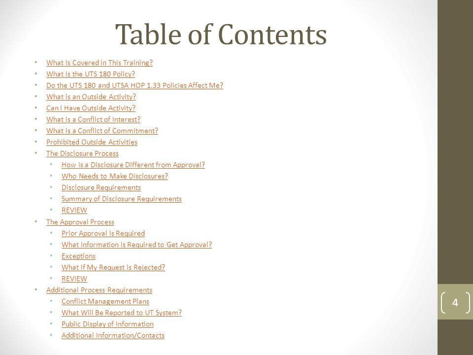 Table of Contents What Is Covered in This Training