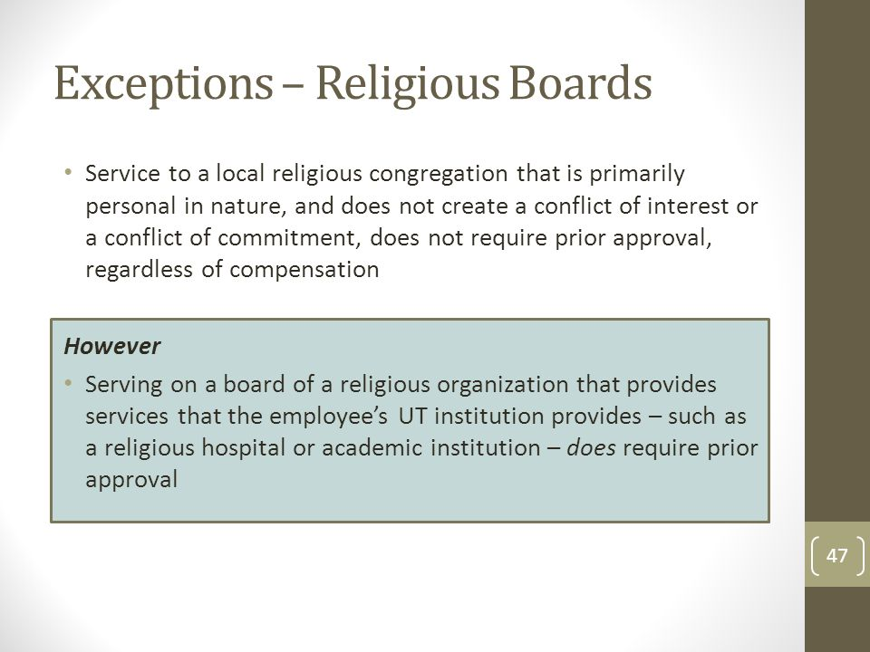 Exceptions – Religious Boards